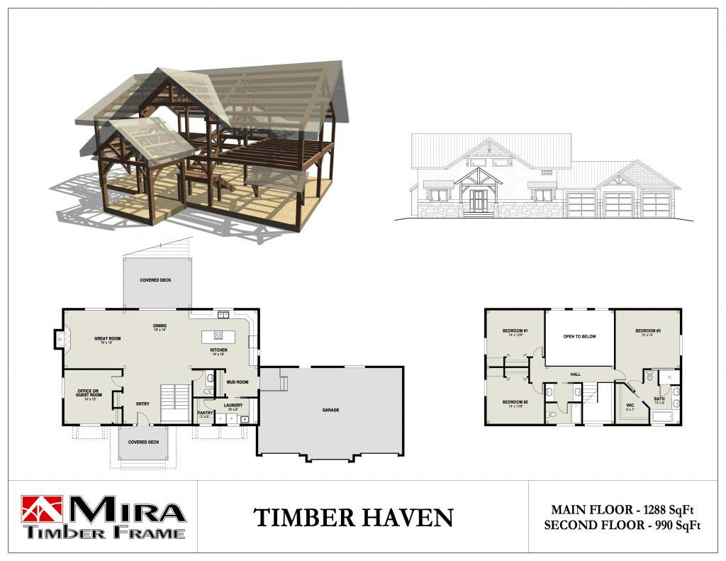 2 story timber frame house plans mira timber frame for Timber home floor plans